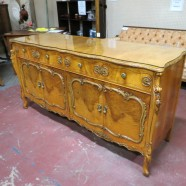 Vintage antique French style carved burled birds eye buffet credenza  c. 1920 – $800