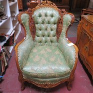 Vintage antique French style carved walnut wingback chair c. 1920 – $425