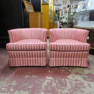 Vintage mid century modern pair of pink moiré upholstered club chairs c. 1940. – $395