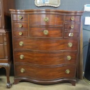 Vintage antique Georgian style tiger mahogany chest of drawers c. 1930 – $850