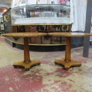 SALE! Vintage antique small oval walnut pedestal table c. 1940 – $40/each