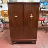 Vintage mid century modern mahogany laminate 2 door cabinet – $125