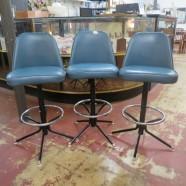 Vintage mid century modern set of 3 blue barstools c. 1970 – $169
