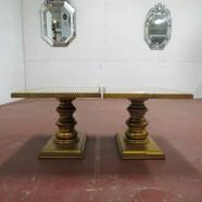 Vintage antique pair of gold leaf pedestal side table c. 1950. – $35/each