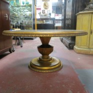 Vintage antique gold leaf pedestal round coffee table c.1950 – $85