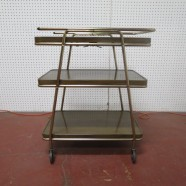Vintage mid century modern 3 tier brass/metal bar cart c. 1960. – $135