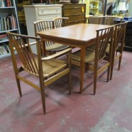 Vintage mid century Swedish modern dining table + 6 Dux chairs c. 1960 – $1595