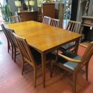 Vintage Danish modern style walnut dining table and 8 chairs c. 1960 – $895