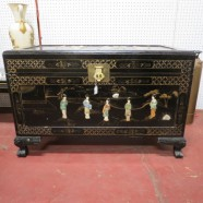 Vintage antique Chinese black lacquer and hand stone trunk c. 1950 – $450