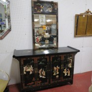 Vintage antique Chinese black lacquer and hand stone credenza and mirror c. 1950. – $450