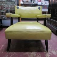 Vintage mid century modern lime green vinyl lounge chair c. 1950 – $125
