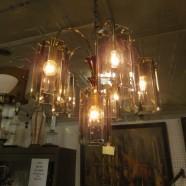 Vintage mid century modern 4 arm smoked glass chandelier c. 1960 – $295