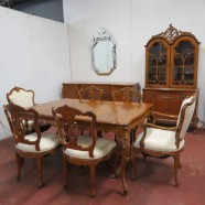 Vintage antique French style ornate 9 piece walnut dining room set c. 1930. – $1595