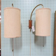 Pair of vintage mid century modern George Nelson hanging wall lamps c. 1960 – $650