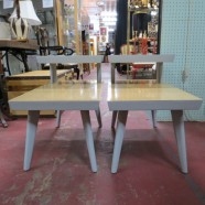 Pair of vintage mid century modern tiered side tables c. 1960 – $69/each