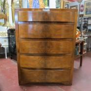 Vintage mid century modern burled walnut modern chest of drawers c. 1940 – $595