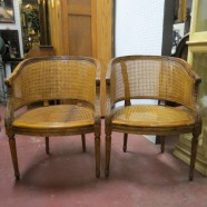 Pair of vintage antique French Louis XVI style caned armchairs c. 1950 – $295