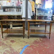 SALE! Vintage mid century modern pair of Lane acclaim walnut side tables c. 1960. – $250