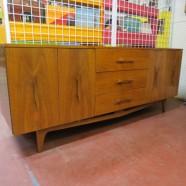 Vintage mid century modern 9 drawer walnut credenza – $695