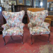 Vintage antique pair of mahogany wing chairs – $695/pair