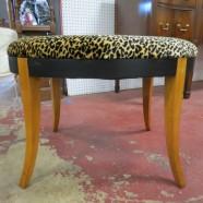 Vintage mid century modern walnut bench with leopard seat – $245