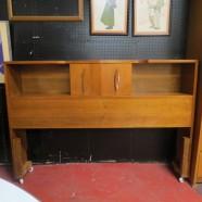 Vintage mid century modern walnut full size headboard – $395