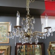 Vintage antique brass and crystal 5 arm small chandelier – $395