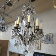 Vintage antique iron crystal chandelier – $750