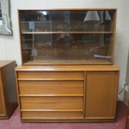 Vintage mid century modern walnut Danish style china cabinet – $495