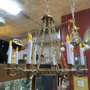 SALE! Vintage antique bronze empire style chandelier – $382