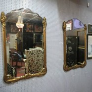 vintage antique large Art Deco gilded carved mirrors, circa 1920 – $1600