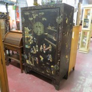 Vintage antique Chinese cabinet with hardstone figures – $495