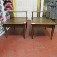 Pair of vintage mid century modern walnut side tables – $125/pair