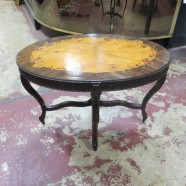 Vintage antique small oval walnut French style coffee/side table – $110