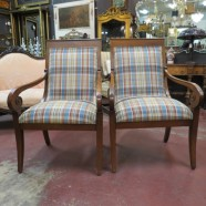 Vintage antique pair of mahogany Ethan Allen arm chairs – $395