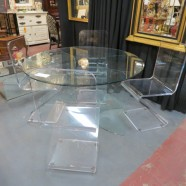 Vintage mid century modern Lucite and glass dining set – $795
