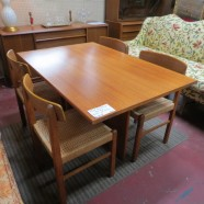 Vintage mid century Danish modern teak dining table and 4 chairs – $600