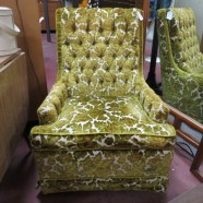 Vintage mid century modern upholstered velvet club chair – $125