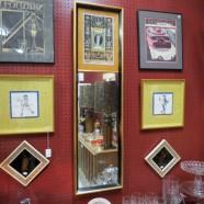 SALE! Vintage antique mirror with art print top – $50
