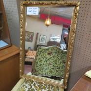 SALE! Vintage antique gold toned carved framed accent mirror – $110