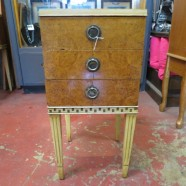 Vintage antique French Art Deco satinwood nightstand – $195