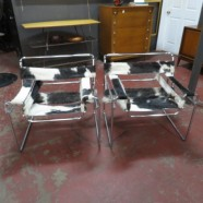 Vintage mid century modern  pair of wassily lounge chairs by Marcel Breuer in cow hide – $1895/pair