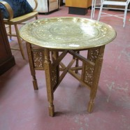 Vintage antique Moroccan brass tray top side table – $225