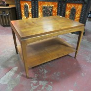 Vintage mid century modern Lane walnut side table – $125