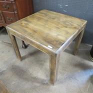 Vintage mid century modern oak parsons style side table – $65