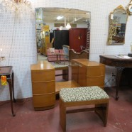 Vintage mid century modern Art Deco walnut vanity and bench – $495