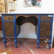 Vintage antique walnut desk/vanity with blue trim – $295