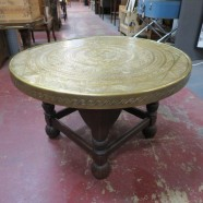 Vintage antique Moroccan brass top coffee table – $299