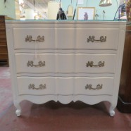 SALE! Vintage antique French 3 drawer white painted chest – $595
