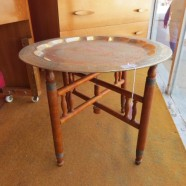 Vintage antique Moroccan etched brass tray table – $225